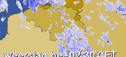 Dit kaartje toont de effectieve regenbuien (geen motregen), dus niet de bewolking!